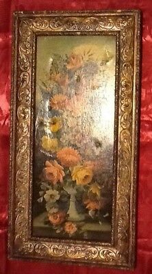 Antique Victorian Carved Wood Frame Gold Gilt w/flowers print on the top of ,,,,