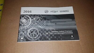 2016 Buick Gmc Chevrolet Canadian Limited Warranty& Owner Assistance Info Manual