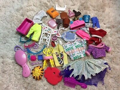 Lot Of Barbie Clothes And Accessories Dresses Pants Shirts Other Doll Parts Toys