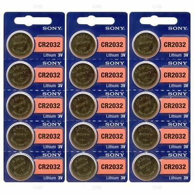 Sony Genuine Fresh Date CR2032 2032 Lithium 3V Batteries Exp 2027 (15 pieces)