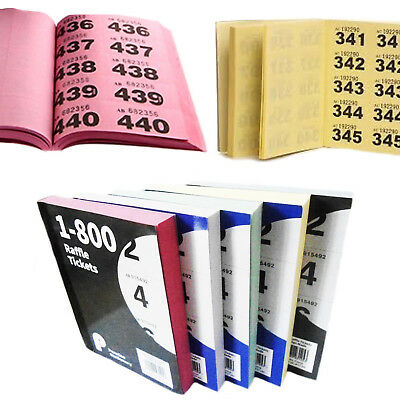 Raffle Books Colour 1-800 Tickets Duplicate Numbered Bingo Cloakroom Draw Ticket