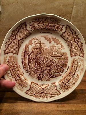Alfred Meakin 7 inch plate Fair Winds USS Constitution engaging Chinese Junks