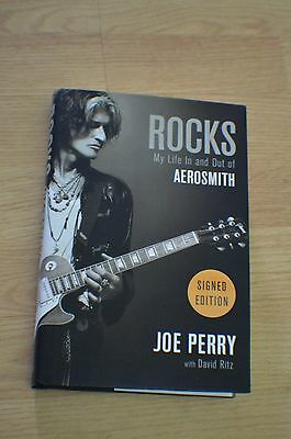"""Joe Perry Autographed """" ROCKS : My Life In and Out of Aerosmith """" HC Book ~ COA"""
