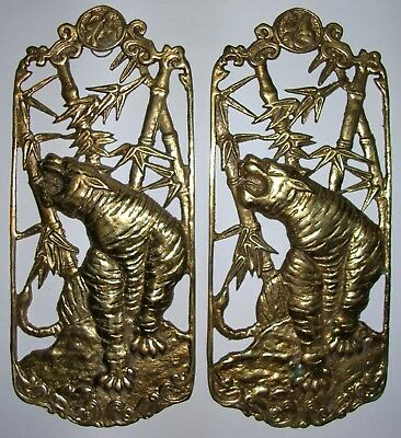 Rare Vintage - (2) Chinese Asian Heavy Brass Metal Tiger Wall Hung Plaque Decor