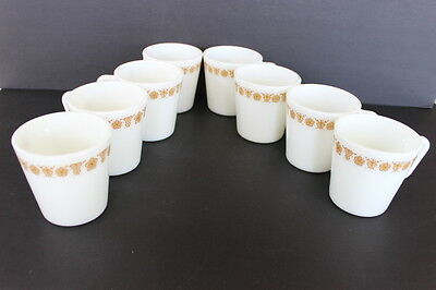 Set 8 Pyrex White Milk Glass Gold Butterfly Flowers Coffee Mugs #1410 D Handle