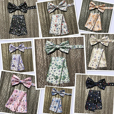 New Men Floral Flower Desgin Pre-tied Bow tie and Hanky Set Wedding Prom Paisley