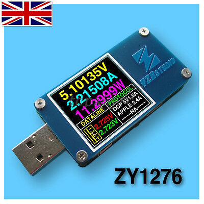 YZXstudio ZY1276 USB Power Monitor QC 3.0 TypeC Power Delivery PD Tester FCP UK
