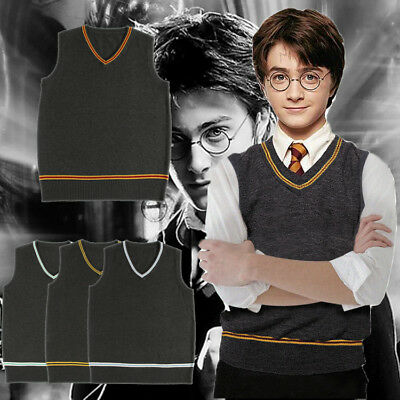 Harry Potter0 Cosplay Sweater Wool V Neck Vest And Scarf Tie Uniform Fancy Dress