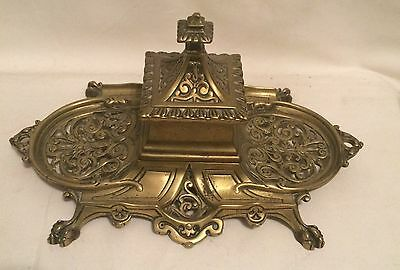 Antique Brass Victorian Inkwell Writing Fountain Pen
