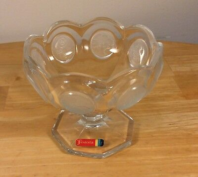 Vintage Fostoria Coin Glass Clear Crystal Compote Candy Dish W/Sticker Free Ship