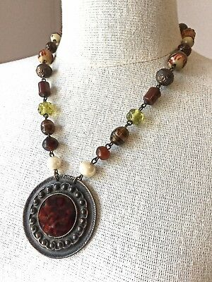 Vintage Boho Bronze Art Glass Beaded Medallion Pendant Necklace