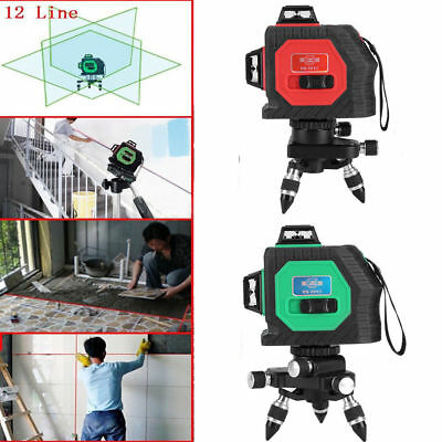 360° 3D Green/Red Laser Level Self Leveling 12 Lines Horizontal&Vertical Cross