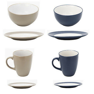 SQUARE DINNERWARE SET 16 Piece Dinner Plates Bowls Cups Kitchen ...