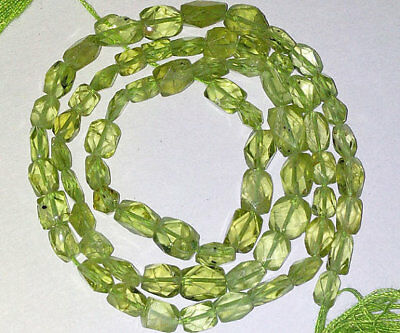 Natural Stone Peridot Faceted Brick Gemstone Beads 4X6mm AAA 14 Inch