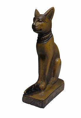 "Egypt Bastet Bast Goddess Cat Pharaoh Figurine Statue Ancient 3.6"" Sculpture 233"