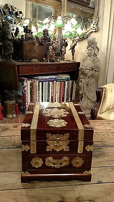Vintage Asian Lacquered  And Brass Jewelry Box With Mirror & Music Box