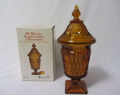 Indiana Glass Mt Vernon Candy Dish Box & Lid Golden Amber Mint In Original Box