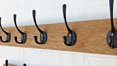 Solid Oak Wooden Coat Rack Rail Cast Iron-Black Hooks