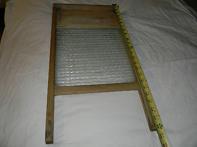 "Antique Vintage Wood & Glass Washboard Faded Writing Old 24"" Tall X 13"" Wide"