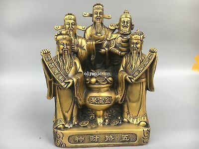 12''Classica Brass Home Fengshui chinese folk Five man Mammon God  god of wealth