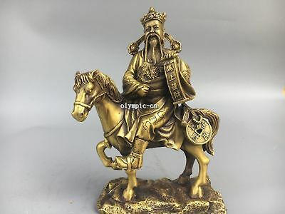 9'' Classica Brass chinese folk Home Fengshui god of wealth Ride Horse statue