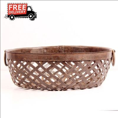Vintage Wrought Iron Rustic Table Old Hand Crafted Round Shape Tribal Basket7013