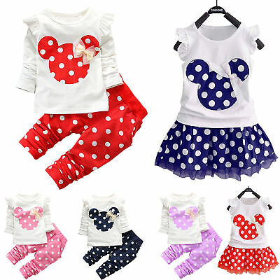 Kids Girls Minnie Mouse Disney Outfits Set Baby Toddler Tutu Dress Costume Party