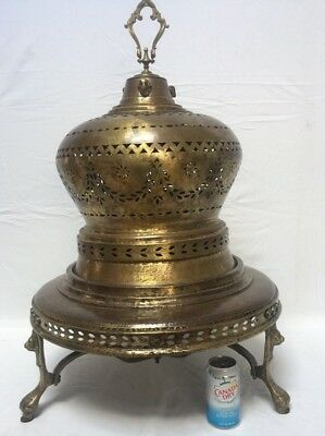 Antique Brass Brazier Heater with Three Lion's Paw Feet