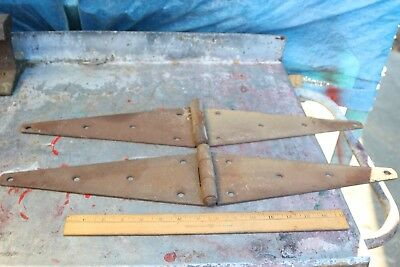 "(2) Large Metal Farm Barn Shop Door Strap Hinges 24"" L x 4 1/2"" W x 1/8"" Thick"