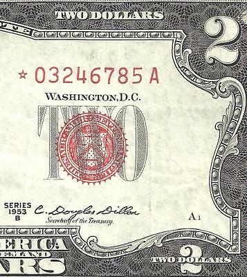 1953B $2 RED Seal *STAR* Legal Tender ~UNITED STATES NOTE~ Old US Paper Money!