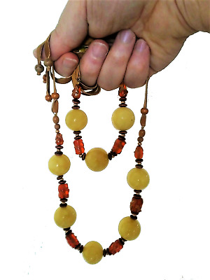 Natural Pure Amber Stone Egg Yolk Butterscotch Necklace 75 G