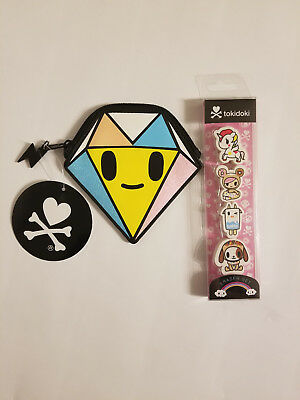 TOKIDOKI DIAMOND COIN PURSE Diamante Pink Blue Glitter Pouch with eraser 4 pack