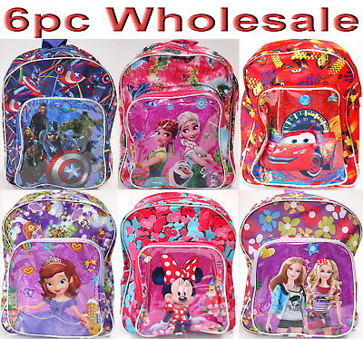 6pc Wholesale Kids Children Frozen Avengers Sofia Cars Backpack Bags Mixed