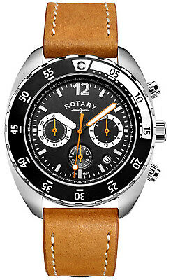 Rotary GS00499/04 Black Dial Brown Leather Strap Chronograph Men's Watch