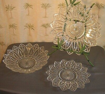 3 Vintage Federal Glass Petals And Crosses Clear 2 Plates 1 Bowl (B4)