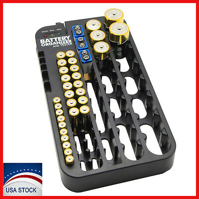 AAA AA Battery Storage Case Organizer with Removable Tester 72 Holder Holds Box