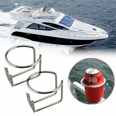 2X Stainless Steel Boat Ring Cup Drink Holder For Marine Yacht Truck RV - Silver