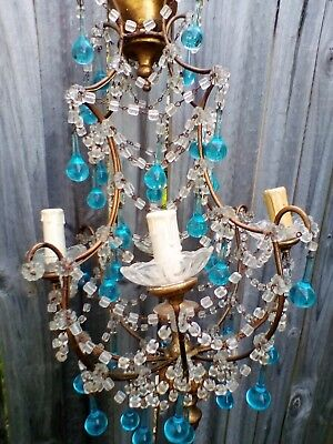 Stunning Antique French Gilt Wood & Macaroni Beaded Blue Murano Drops Chandelier