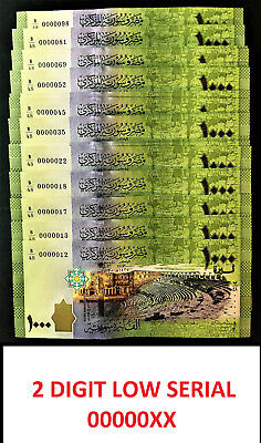 Syria 1000 Pounds 2 Digit LOW Serial 00000XX Pick-116a 2013 Superb GEM UNC