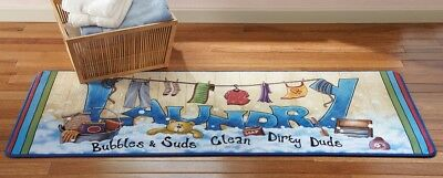 Laundry Room Washer Dryer Cushion Runner Rug Door Mat Colorful Bubbles & Suds