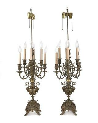 A pair of French brass candelabra lamps Lot 1281