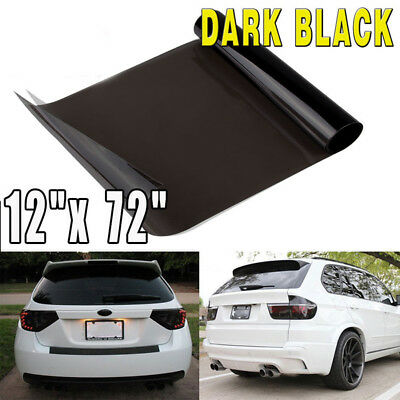 "NEW 12"" x 71"" Dark Black Car Smoke Headlight Tail Fog DRL Light Tint Vinyl Wrap"