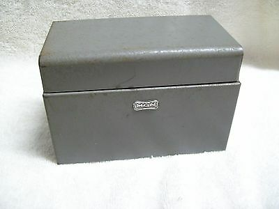 Vintage Hon Steel Index Card File Box Gray Made in the USA
