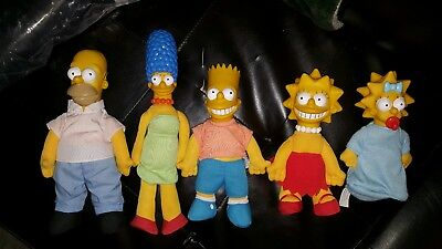 """The Simpsons doll plush Lot!  Burger King Vintage 1990! All 5 6 to 9""""!  30% off"""