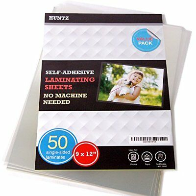 Pack of 50, Self-Adhesive Laminating Sheets, Clear Letter Size (9 x 12 Inches),