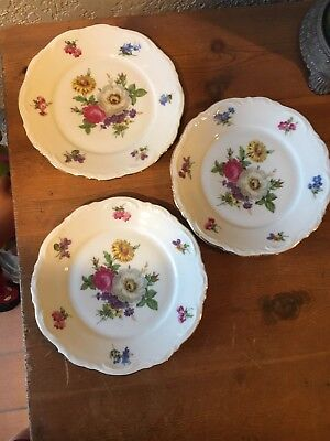 Beautiful Lot Of 3 Vintage Mitterteich Meissen Floral Pattern  B & B Plates Nice