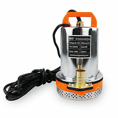 BACOENG 12V DC 26FT 120W Farm&Ranch Solar Powered Submersible DC Water Well Pump