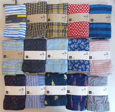 GAP Men's Classic 100% Cotton Boxers Underwear Prints Stripes Size S,XL NWT
