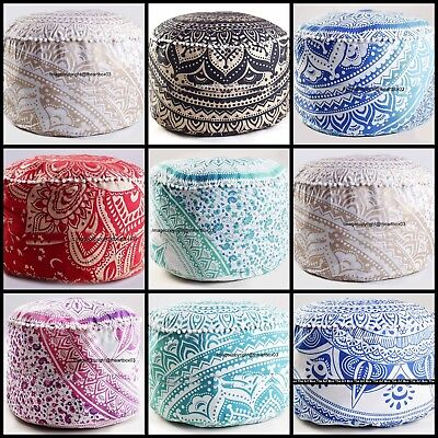 Indian Handmade Ombre Mandala Decorative Ottoman Pouffe Ethnic Round Floor Pouf