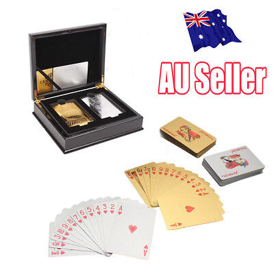 Set Of 2 $100 Gold & Silver Poker Playing Cards Deck Regular With Wooden Box MN